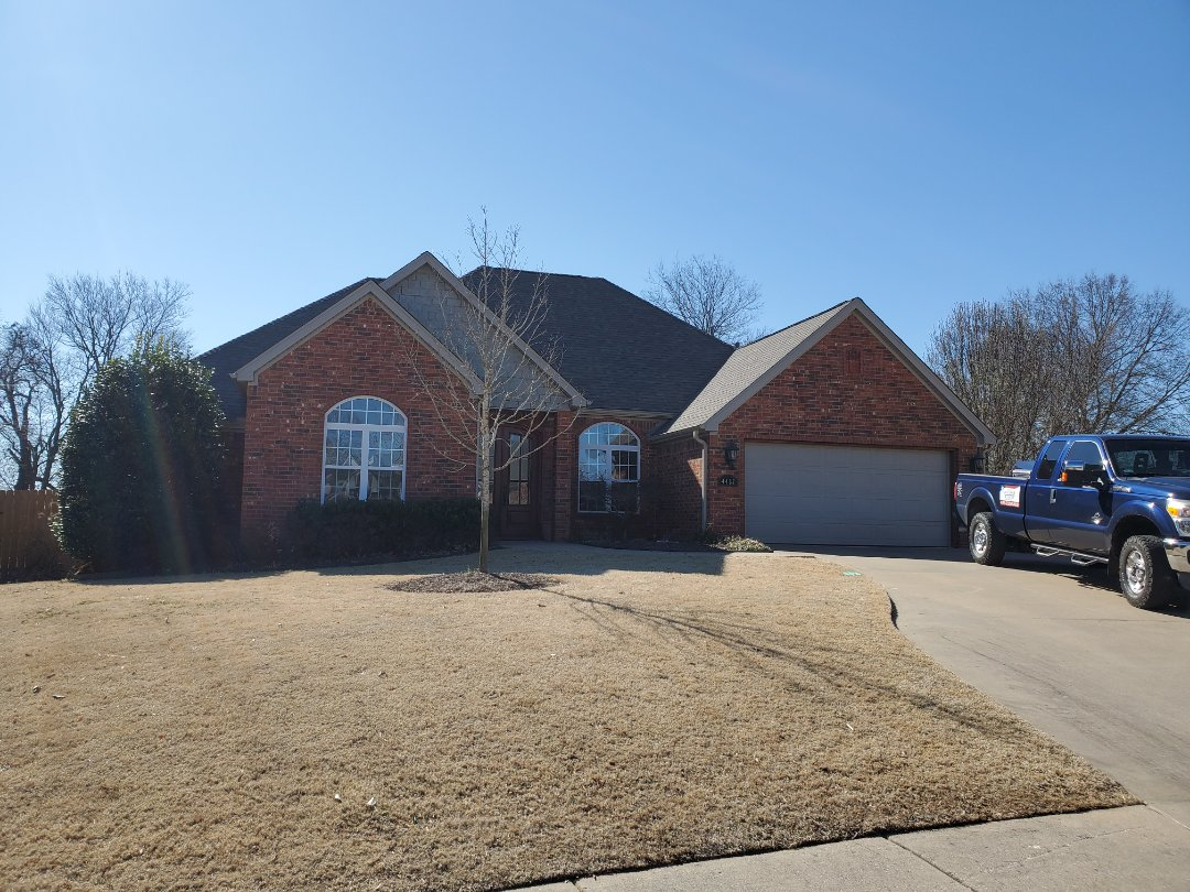 Rogers, AR - Another full roof replacement complete in Rogers. This is an Owens Corning Oakridge shingle with Rizer Ridge (Driftwood). Quality Assurance Roofing was able to get the entire roof paid for by the home owners insurance company due to hail damage. Call Quality Assurance Roofing today for your free inspection 479.239.5469
