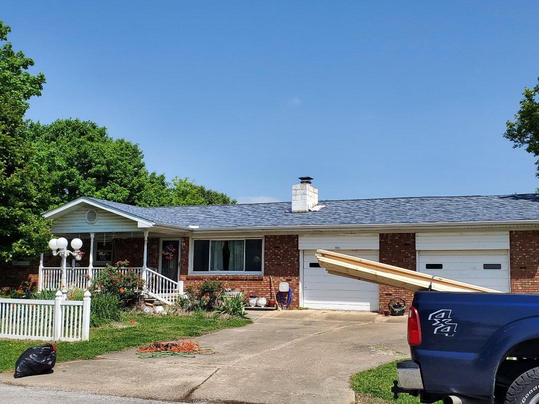 Berryville, AR - Full roof replacement complete in Berryville. This is an Owens Corning Duration shingle (Harbor Blue). Quality Assurance Roofing was able to get the entire roof paid for by the homeowners insurance company due to hail damage. Call Quality Assurance Roofing today for your free no obligation inspection. 479.239.5469