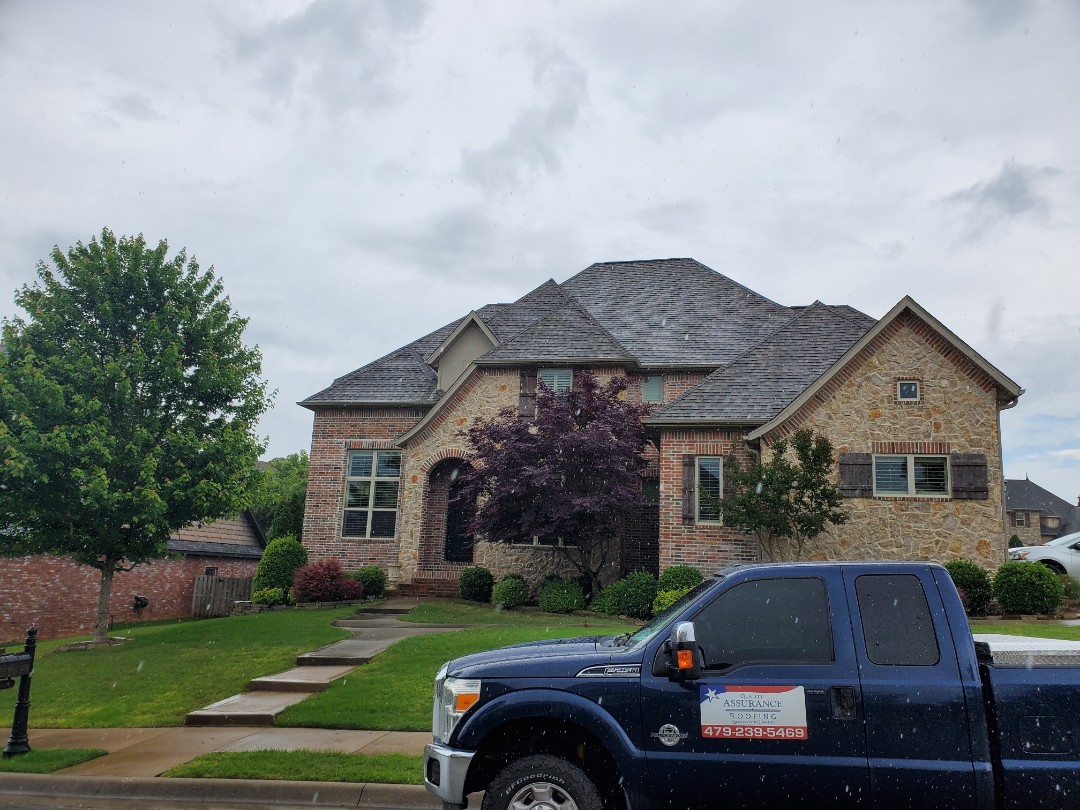 Rogers, AR - Full roof replacement complete in Rogers. This is a CertainTeed Impact Resistant shingle (Weathered Wood). Quality Assurance Roofing was able to get the entire roof paid for by the homeowners insurance company due to storm damage. Call Quality Assurance Roofing today for your free inspection (479-239-5469)