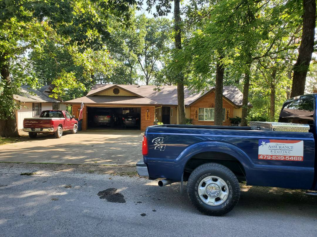 Bentonville, AR - Full roof replacement complete in Bella Vista. This is an Owens Corning Supreme shingle (Brownwood). Quality Assurance Roofing was able to get the entire roof paid for by the homeowners insurance company due to hail damage. Call Quality Assurance Roofing today for your free inspection (479-239-5469)