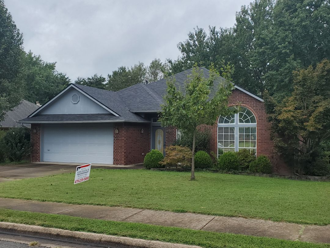 Rogers, AR - Full roof replacement complete in Rogers. This is an Owens Corning Oakridge shingle (Onyx Black). Quality Assurance Roofing was able to get the entire roof paid for by the homeowners insurance company due to hail damage. Call Quality Assurance Roofing today for your free inspection.