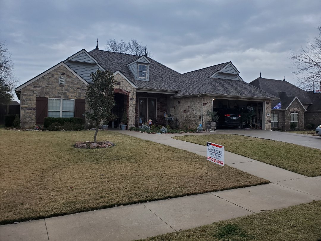 Rogers, AR - Full roof replacement complete in Rogers. This is an Owens Corning TruDefinition Duration shingle (Driftwood). Call Quality Assurance Roofing today for your free inspection.