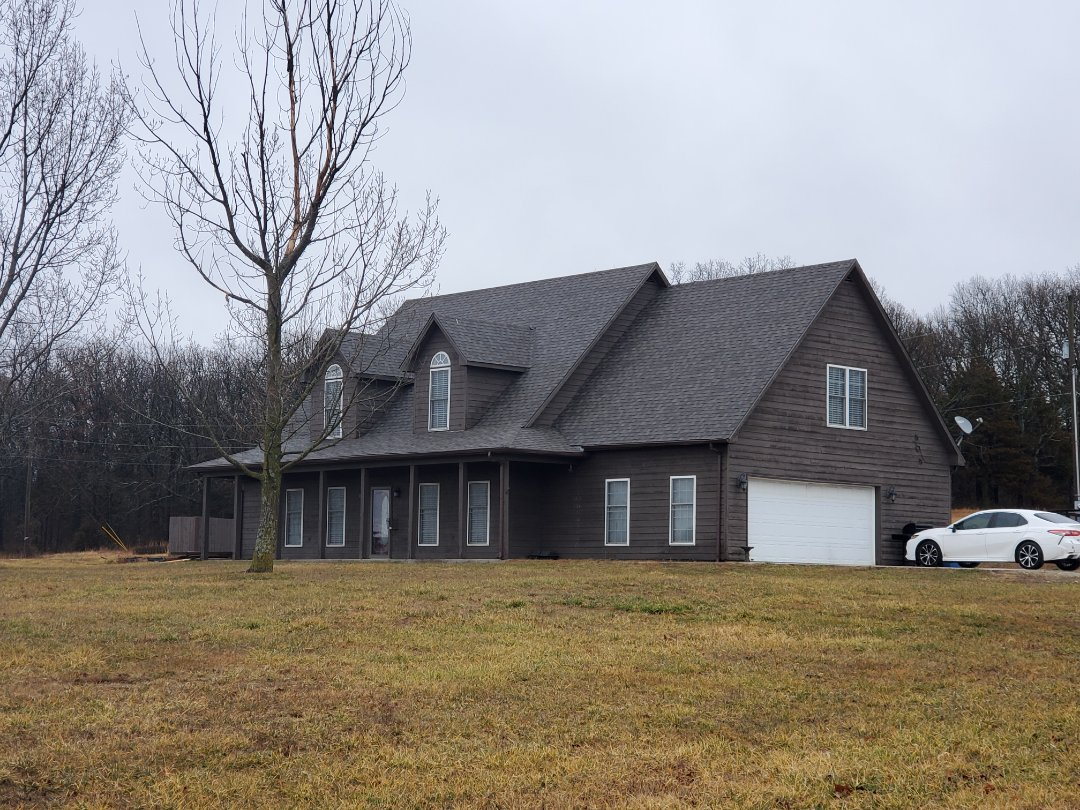 Washburn, MO - Full roof replacement complete in Washburn, MO. This is a CertainTeed Landmark shingle (Weathered Wood). Call Quality Assurance Roofing today.