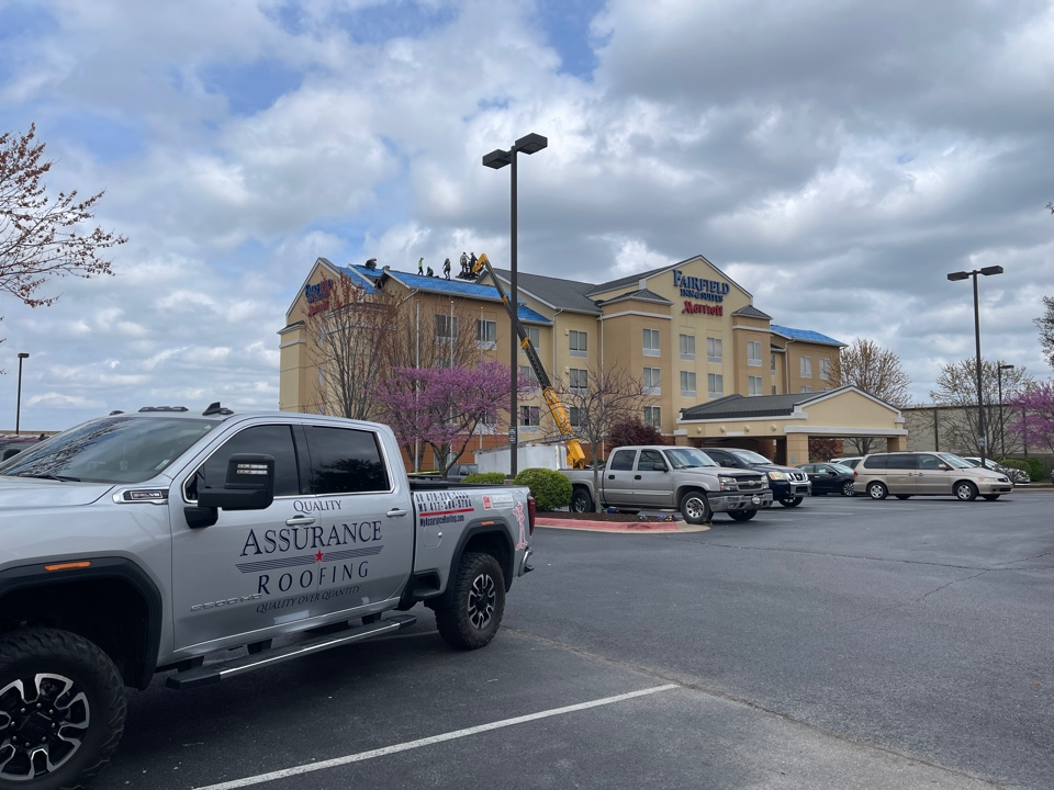 Springdale, AR - Quality Assurance Roofing is starting the roof replacement at the Fairfield Inn and Suites in Springdale, Ar. We are replacing the roof with a Landmark Weather Wood Shingle. Call us with any of your commercial or residential roofing needs. Www.myassuranceroofing.com