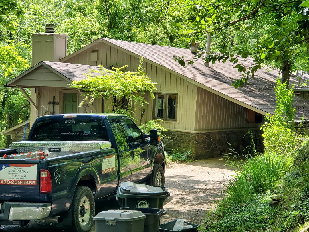 Eureka Springs, AR -  Roof replacement complete in Eureka Springs. This is a CertainTeed XT25 shingle (Weathered Wood). Call Quality Assurance Roofing today.