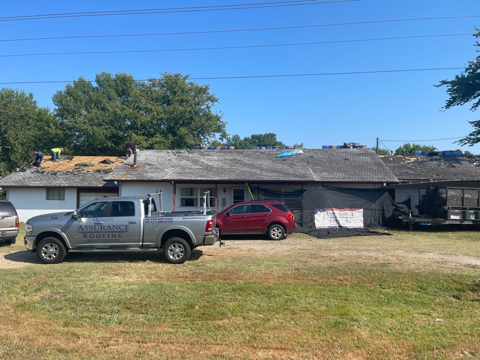 Muldrow, OK - Today, Quality Assurance Roofing is doing our early donation roof to a person in need of a new roof but is not financially able to afford one currently. We are installing a brand new Certainteed shingle and removing two layers of worn-out shingles. Mr. Tucker is a disabled Veteran in need of a bit of help, and we at Quality Assurance Roofing are honored to help.