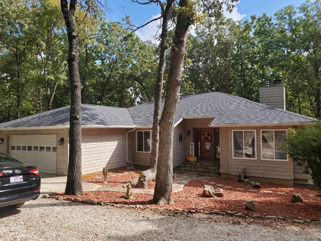 Harrison, AR - Full roof replacement complete in Harrison. This is a CertainTeed Landmark shingle (Moire Black). Call Quality Assurance Roofing today.