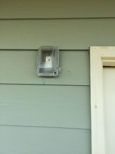 Newnan, GA - Removed exterior light and installed new GFCI receptacle and bubble cover