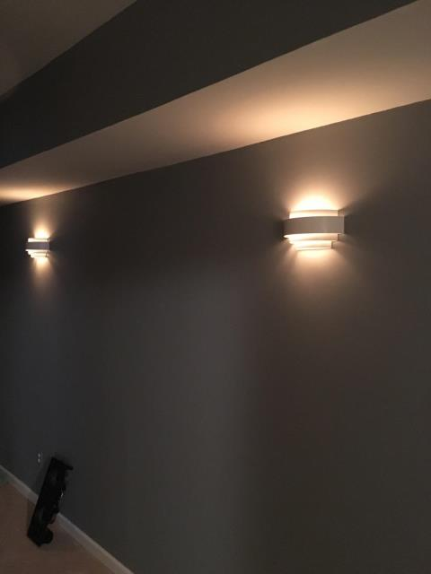 Newnan, GA - Installed 4 new sconce lights and receptacle for new home theater room