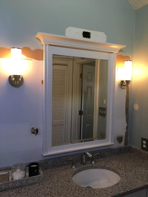 Newnan, GA - Moved wiring and boxes for vanity lights in master bathroom and installed 3 new vanity lights