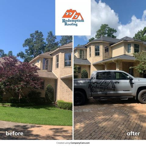 Magnolia, TX - Replaced this Weatherwood roof due to hail damage and went back with a Certainteed Moire Black.