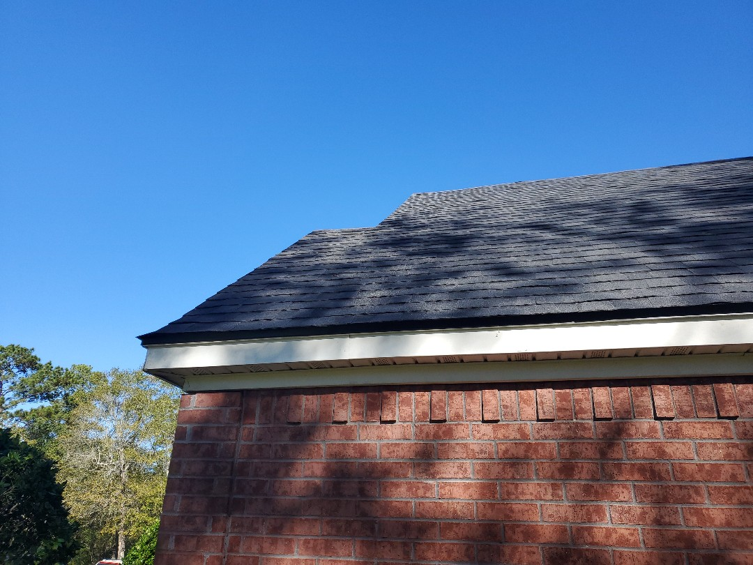 Orange, TX - Finishing up a roof replacement. CertainTeed Landmark Moire Black. This is another one with wind damage from hurricane Laura