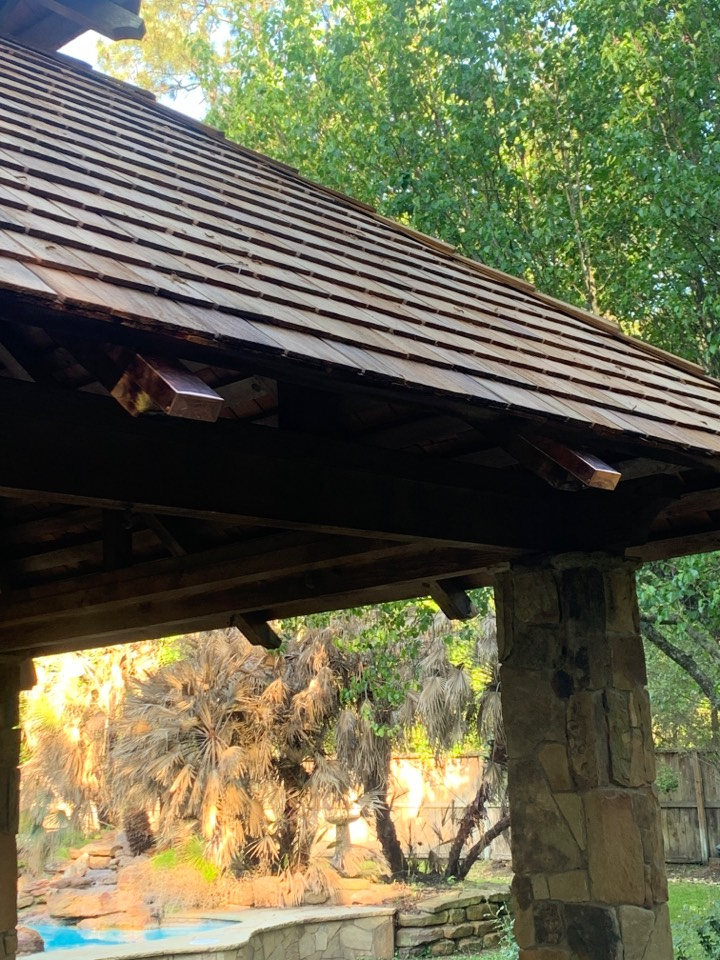 Spring, TX - Finishing the cedar wood shake gazebo off with some custom copper accents