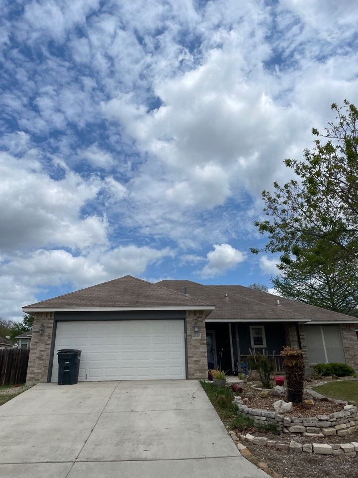 New Braunfels, TX - In New Braunfels inspecting hail damaged roofs. Free roof inspections and estimates.