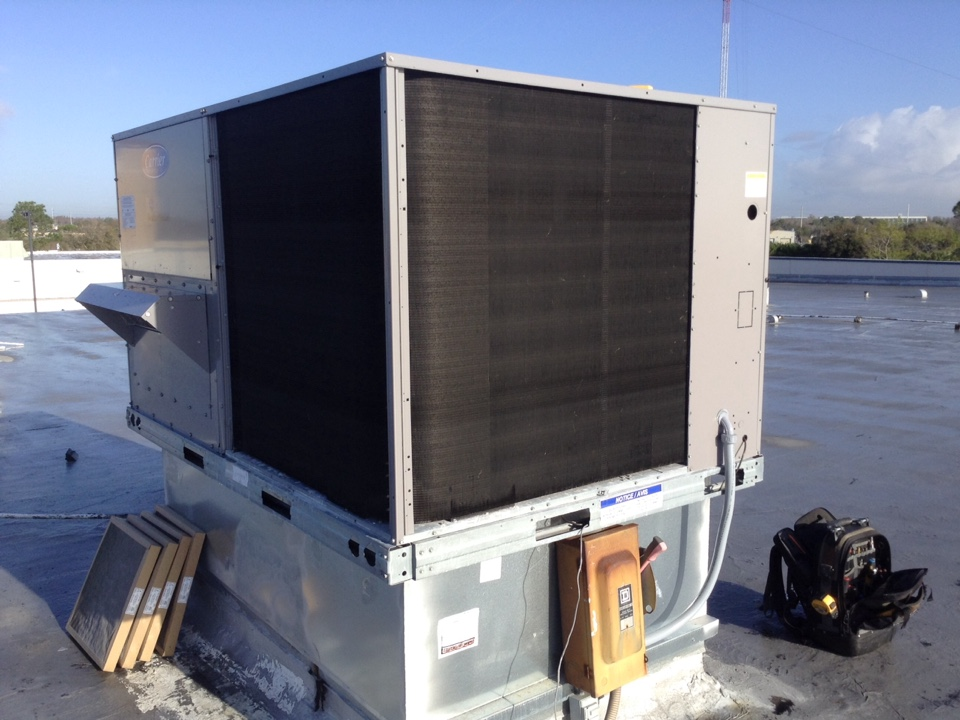 "Oldsmar, FL - Oldsmar Commercial AC repair service .  Customer reports ac not cooling to set temperature . No active system malfunction with RTU or thermostat control on arrival with fan selection on thermostat in continuous ""on"" operation. Confirmed thermostat readout within calibration. Initiated cooling demand at thermostat control, select fan to ""auto"", and confirmed energized 1st-stage and 2nd-stage cooling. Confirmed non-energized Heat strip during cooling demand. Inspected blower motor belt in good condition. Inspected air filters in fair condition with lite dirt / dust accumulation. RTU and thermostat operating within its design . IT room distributing excessive heat into conditioned room and potential reason for experienced poor cooling of office space ."