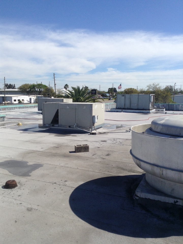 Largo, FL - Largo Fl. Rooftop Trane package unit ac systems preventative maintenance .  Ac maintenance - chemically cleaned and rinsed condenser and evaporator coils. Replaced and dated air filters. Inspected electrical. Inspected belt condition and tension .  Air Zero provides free new central home air conditioning / heat pump system replacement installation price cost quote estimate Largo , air conditioner repair service and preventative maintenance ac tune up and warranty work repair on all brands Trane , Lennox , Bryant , Goodman , Rheem , Carrier , York and more of home hvac units in  Largo, FL 33771