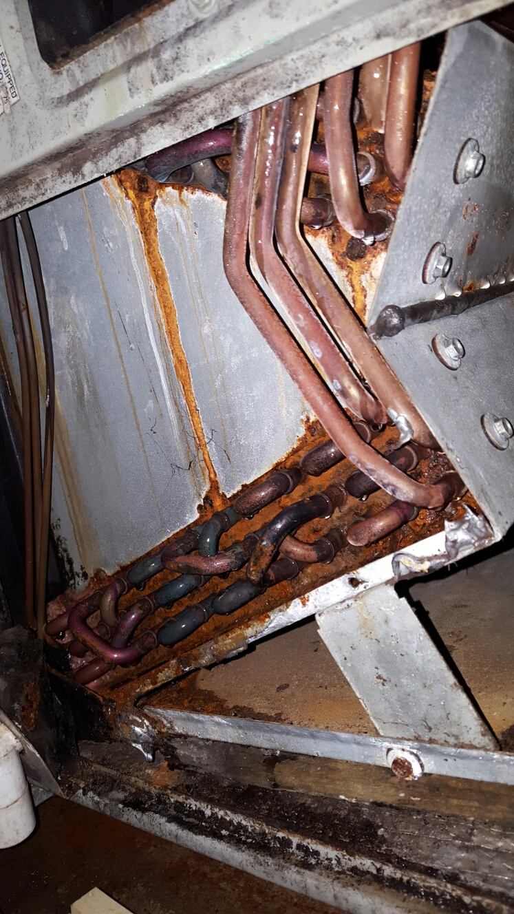 Gulfport, FL - trane air handler evaporator coil very rusted.