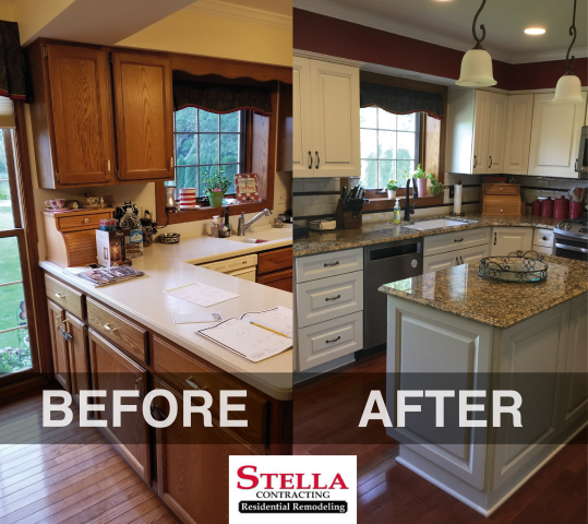 We transformed this tired kitchen into a much more brighter and modern workspace. The old floors were replaced with an engineered wood floor with a long-lasting finish.