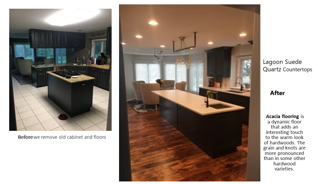 From builder grade dark oak cabinets to new Custom Black Maple Sacker Cabinets, Custom Acacia Hardwood Flooring, Lagoon Suede Quartz countertops, custom lighting fixture over the island, 10' long island with prep sink in the island has differently enough room for 2 cooks and viewers.