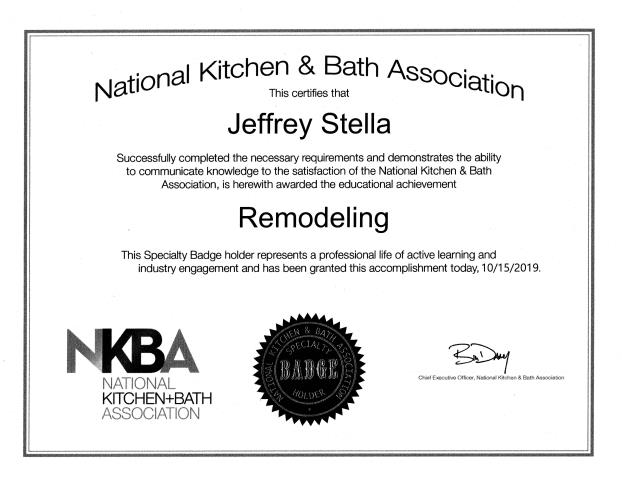 We received another certification from NKBA today: