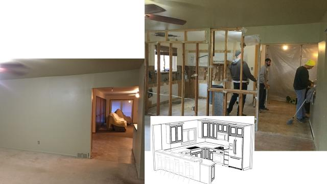 Our first kitchen project for 2020!  The new open kitchen floorplan begins with wall removal. The new space will include luxury vinyl plank flooring (LVP) and Schrock cabinetry (schrock.com).