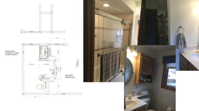 """What if we move this wall just a bit....."" During the design phase, the possibilities are endless.  We are limited only to our imagination, (and, of course, our budget).  It doesn't take much to turn an outdated bathroom into your own personal retreat/spa!"