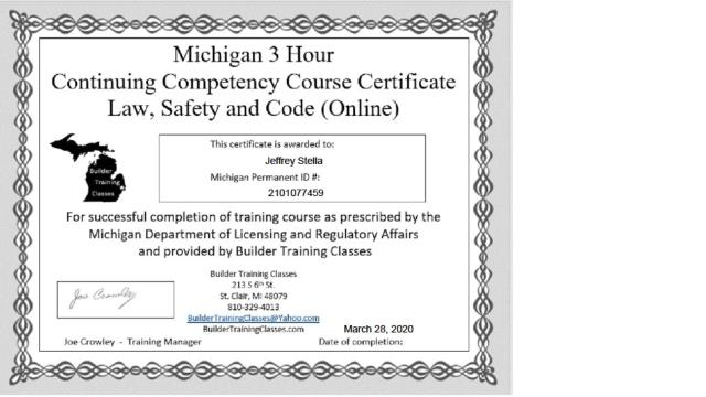 Did you know that as a condition of maintaining a State of Michigan Contractor's License. the contractor must provide proof of on-going education?  This is why choosing a LICENSED contractor is so important!