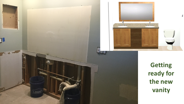 We're getting ready to make the big transformation!  We've removed the old dated vanity are finishing up the rough build-outs.  Preparing for a new updated vanity, sinks, faucets and accessories.  Soon we'll start bringing the new and cool stuff in!