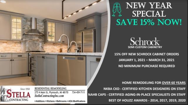Plymouth, MI - Start the new year with new cabinets!  Hurry and take advantage of our 15% off Shrock Cabinets.  This offer ends March 31, 2021.