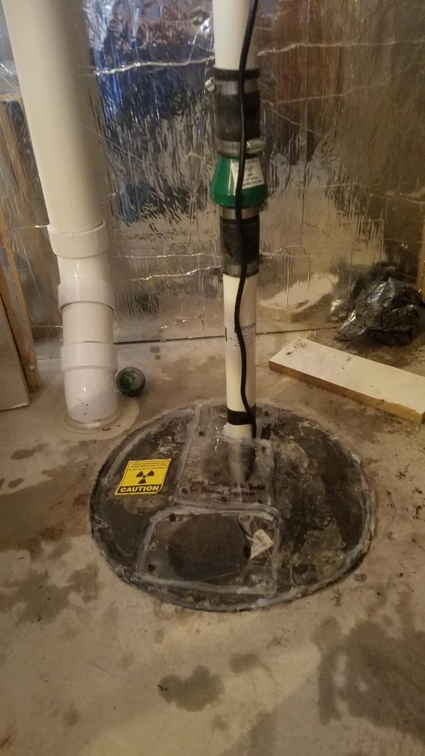 New Brighton, MN - Sump pump inspection.  Older weak sump pump. Install new sump pump.