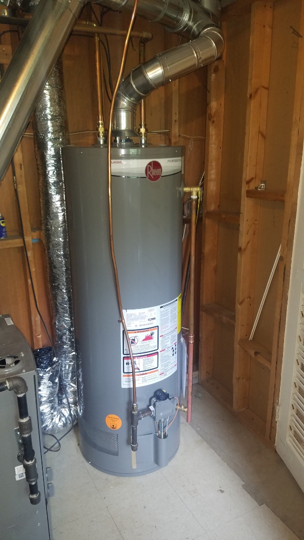 Lino Lakes, MN - Water heater making strange noises. Water heater blower motor bearings shot.  Install new Rheem power vent water heater.