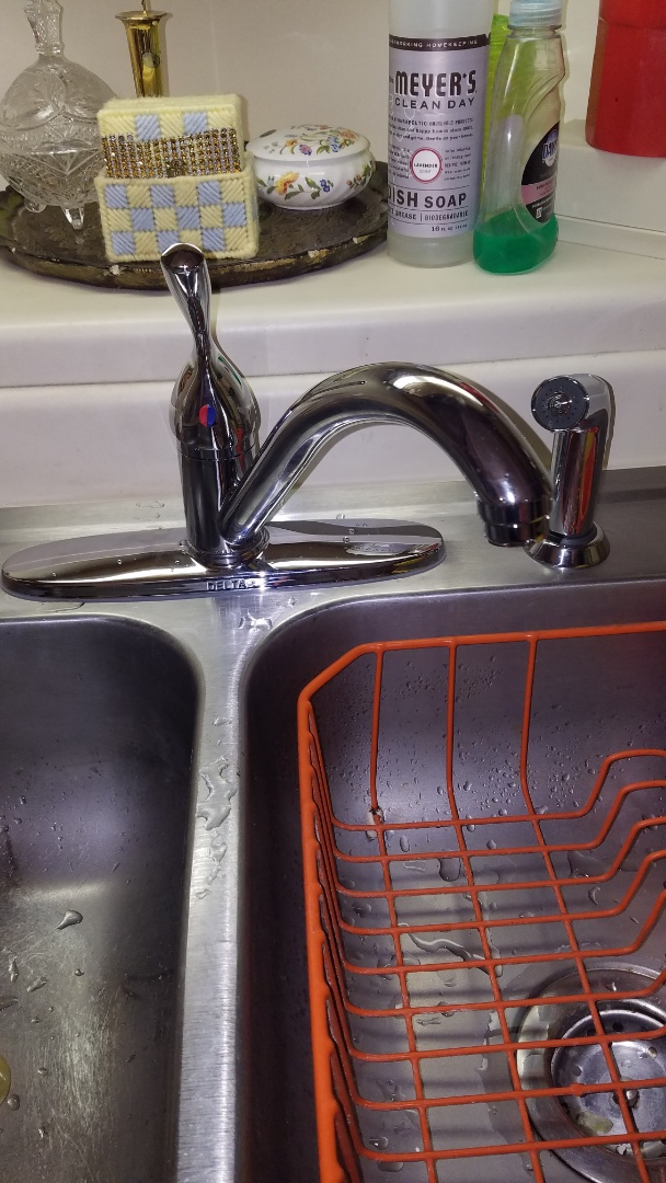 Install customers supplied kitchen faucet. Delta Leland kitchen faucet. New hot and cold water shut offs.