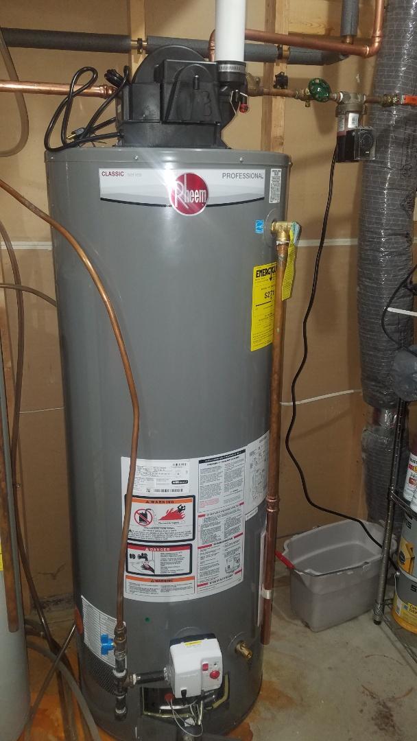Rheem power vent water heater service. Clean burner and flame sensor.