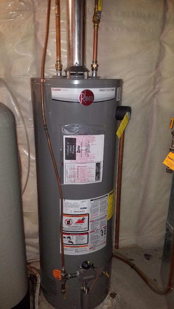 Ham Lake, MN - Water heater replacement. Rheem 50 gallon water heater installation.