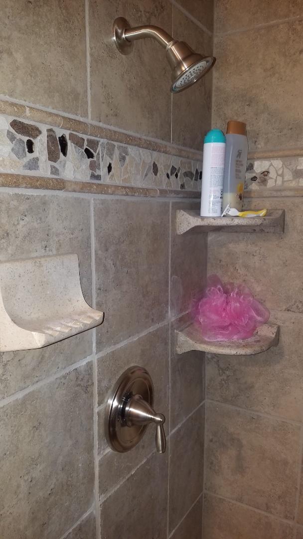 Leaking shower valve. Older shower valve. Install new Moen Brush nickel shower valve.
