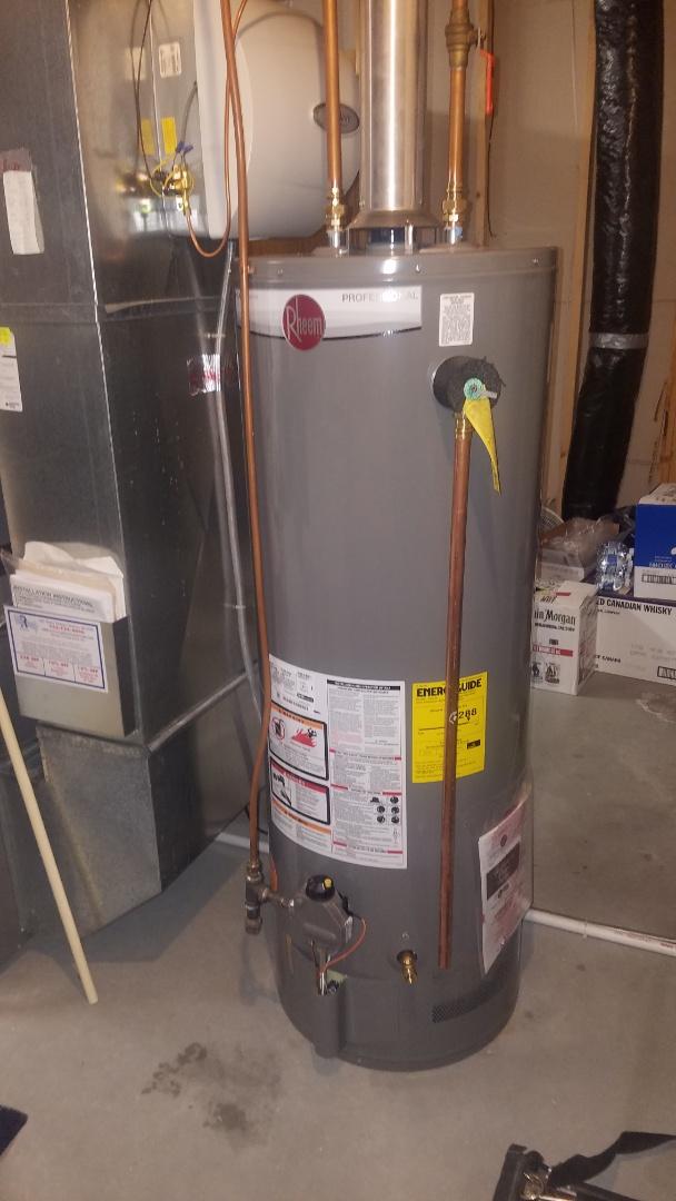 Ham Lake, MN - Water heater replacement. Rheem 50 gallon water heater.