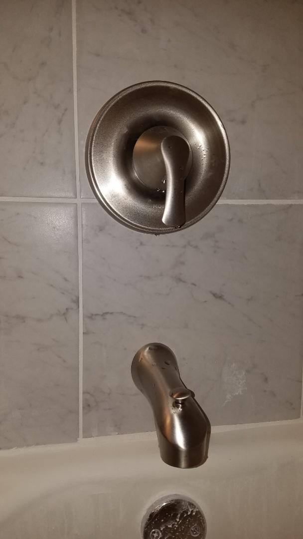 Leaking shower valve. Install new moen tub and shower valve.