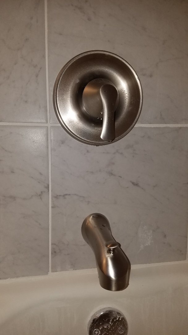 Leaking shower valve. Replace older tub and shower valve. Install new moen tub and shower valve.