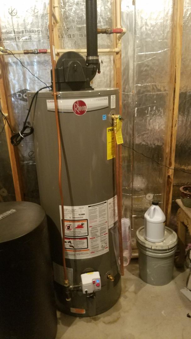 Ham Lake, MN - Water heater not working. New Rheem power vent water heater installation.