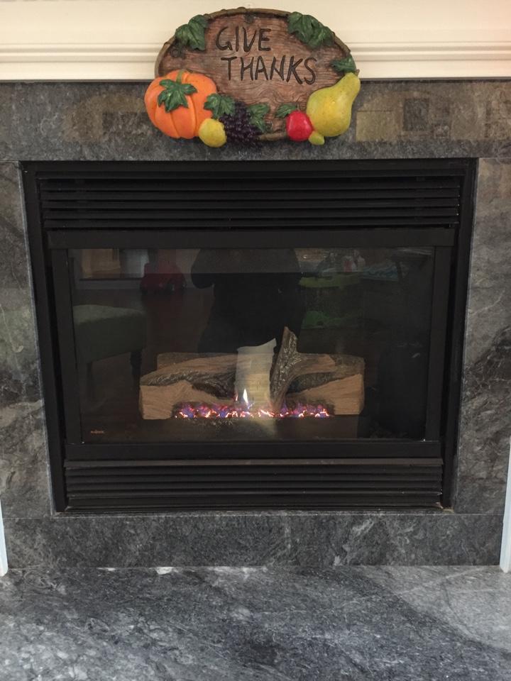 Washington Township, NJ - Heating service call. Repair broken LP gas fireplace.