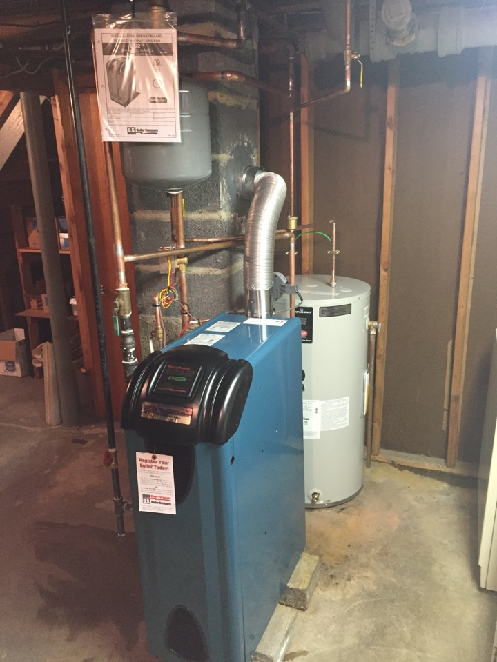 Mine Hill Township, NJ - Oil to gas conversion of Burnham ES2 high efficiency boiler and indirect hot water heater in Mine Hill, NJ.