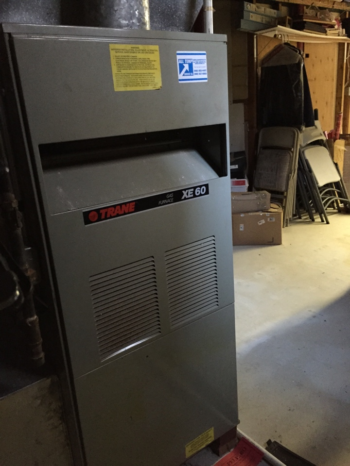 Washington Township, NJ - Furnace service call. Repair pilot assembly on Trane furnace.