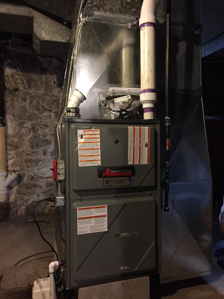 Washington Township, NJ - Oil to gas conversion of an Amana high efficiency furnace in Long Valley, NJ.