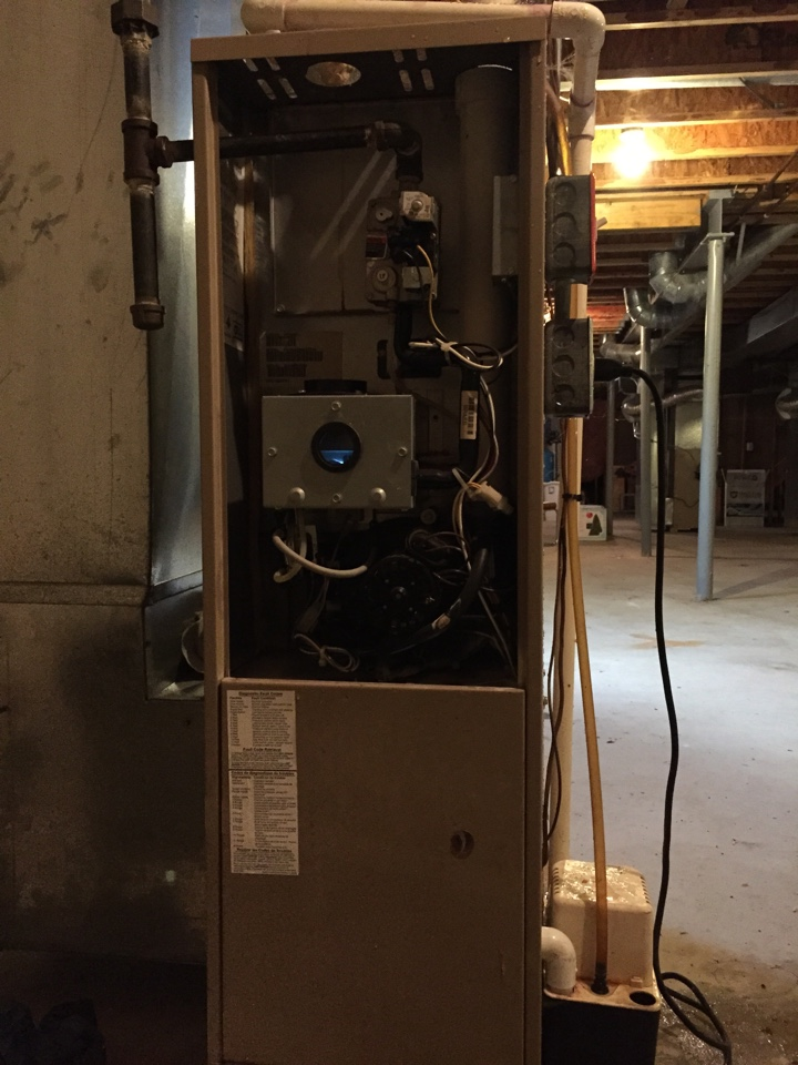 Washington Township, NJ - Heating repair. Service York warm air furnace with new condensate pump.