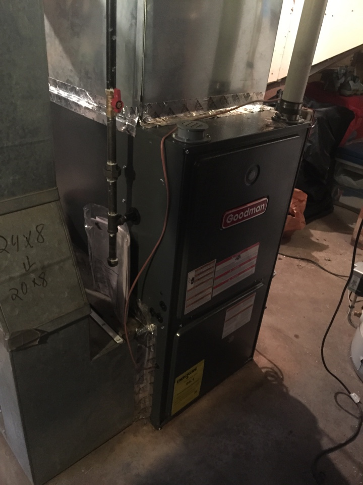 Mine Hill Township, NJ - Oil To gas conversion.  Install goodman high efficiency forced hot air gas furnace