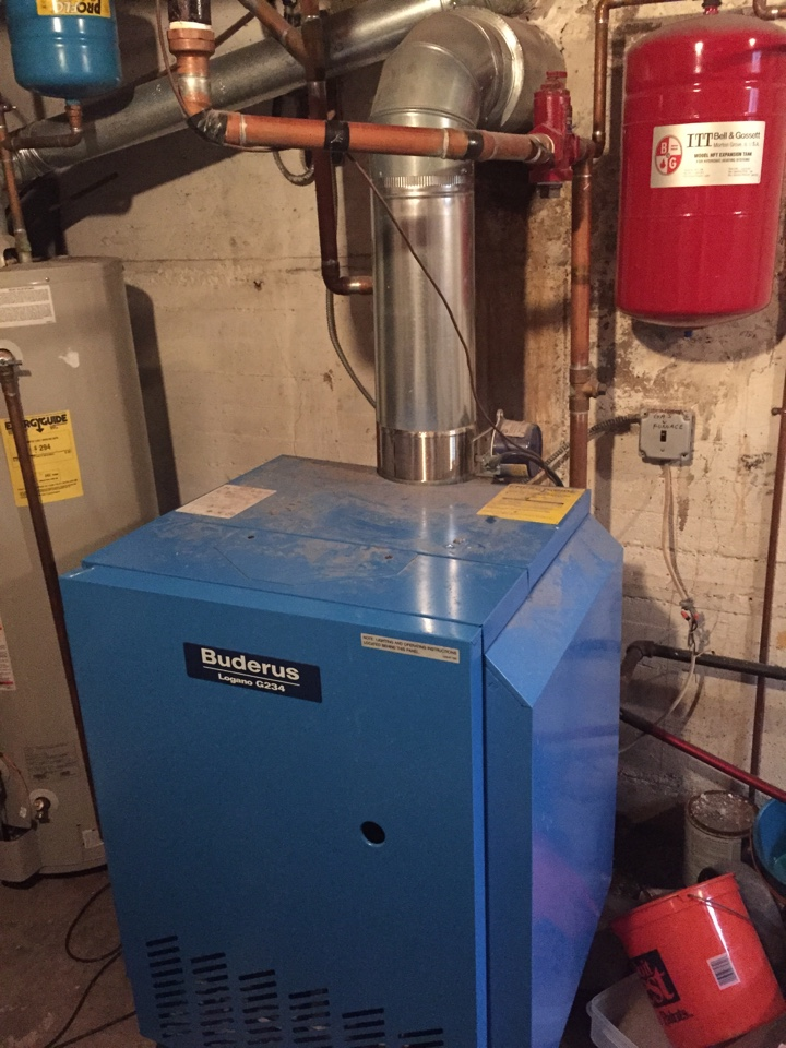 Chatham Township, NJ - Heating service call. No heat in house. Replace bad circulator pump on a Boderus natural gas fired hot water boiler.
