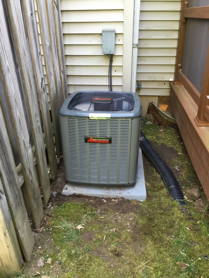 Hackettstown, NJ - Air conditioning installation. Install new Amana condenser and indoor evaporator coil.