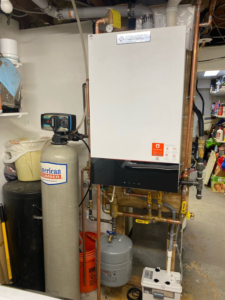 Oil to natural gas conversion of a viessmann condensing boiler and indirect water heater.