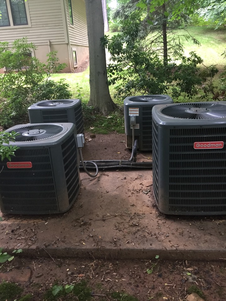 Morristown, NJ - Air conditioning service. Unit not blowing cold air. Repair Goodman air conditioning unit with new contactor. AC service
