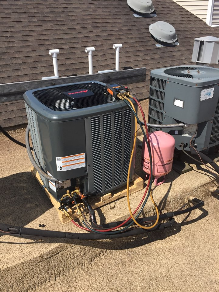 Mount Arlington, NJ - Air conditioning replacement. Install new Amana condenser and evaporator coil.